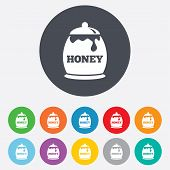Honey in pot sign icon. Sweet natural food.