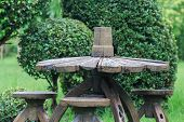 Old Wood Chair And Table Decoration In Garden