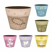 Set of Decorative Flower Pots on White Background
