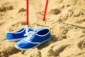 Nordic Walking. Sticks And Violet Shoes On A Sandy Beach