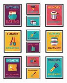 Kitchenware Poster Flat Banner Design Flat Background Set, Eps10