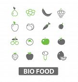 bio, eco fruit, vegetables, black icons, signs, illustrations set, vector