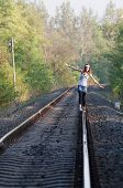 Teen Girl On Rail