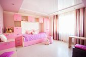 Interior of a child. Interior nursery for girl. Nobody