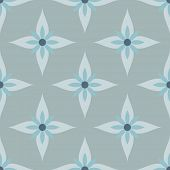 Seamless abstract blue and gray flowers pattern.