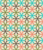 Retro color snowflake seamless pattern.