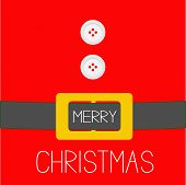 Santa Claus Coat With Fur, Buttons And Golden Belt. Merry Christmas Background Card Flat Design