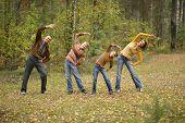 Family doing exercises