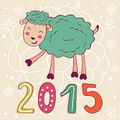 2015 card with cute funny sheep