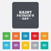 Saint Patrick sign icon. Holiday symbol.