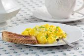 Scrambled eggs and toast.
