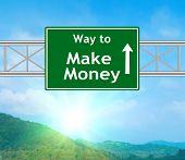 Make Money Green Road Sign