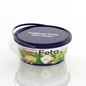 3D Feta cheese plastic container isolated on white