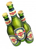 Three beer bottles with labels isolated on white. 3d