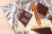 Various chocolate bars with cinnamon