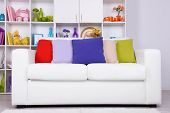 Modern interior design. White living room with sofa and bookcase