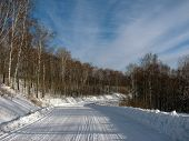 Winter road through the forest to the village