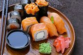 menu of assorted sushi with salmon - Traditional Japanese cuisine