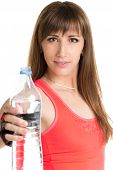 Young Fitness Woman With A Bottle Of Water Isolated On White Background