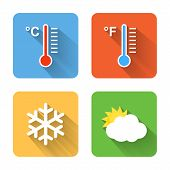 Flat Weather Icons. Vector Illustration