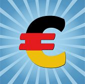 German Euro symbol on blue sunburst vector illustration