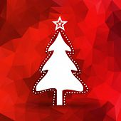 Abstract Christmas tree with red polygonal background