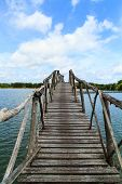 Wooden Bridge Across Reservoir