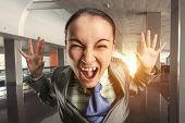 Shouting woman in the office