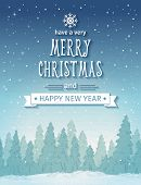 Vintage winter night forest landscape. Merry Christmas card