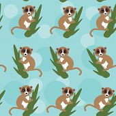 Seamless pattern lemur on green branch on blue background. vector