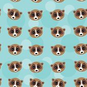 Seamless pattern lemur muzzle on blue background. vector