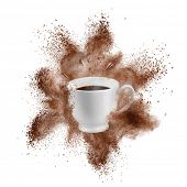Coffee explosion with cup and beans isolated on white background