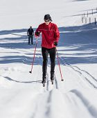 cross country skiing, close-up.