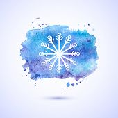 Vector watercolor background, winter illustration
