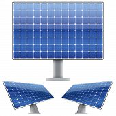 Set of Blue electric solar panel for sun light. Vector
