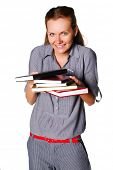 Student with books for homework