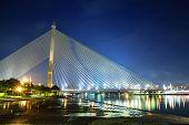 Rama 8 Or Praram 8 Cable Suspension Bridge In Bangkok, Thailand.
