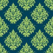Green and blue damask style seamless pattern
