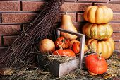 Pumpkins in wooden box on floor on brick wall background