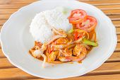 squid and prawns fried with chilies , Thai food