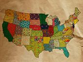 USA funny map on the old paper