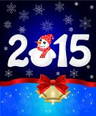 Happy New Year 2015 From Snow With Snowman And Santa Hat. Vector