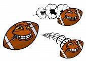 Happy cartoon football or rugby ball