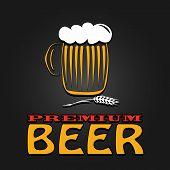 premium beer mug barley vintage design poster