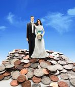 picture of plastic money  - Plastic wedding couple on coins  - JPG