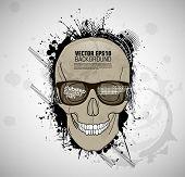 picture of cranium  - grunge print with cranium - JPG