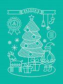 Modern Christmas Cartoon Illustration With Line Art Style
