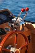 Steering wheel on luxury boat