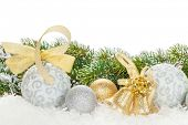 Christmas colorful decor and snow fir tree. Isolated on white background with copy space