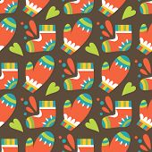Christmas Seamless Pattern With Mittens And Socks